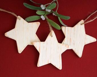 Rustic Thin Timber Star Tree Ornament
