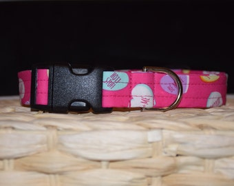Dog Collar –   Valentine's Day Dog Collar - Pink Heart Candy Dog Collar – Hearts Dog Collar – Valentine's Day Print Dog Collar