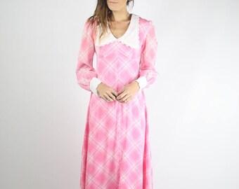 60s Maxi Dress, Pink Plaid White collar Long sleeve maxi, 1960s prairie boho hippie, Small 3267