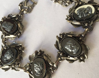 Vintage Black Glass Cameo Bracelet