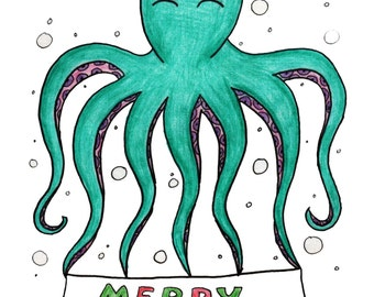 Homemade Merry Christmas Card Green Octopus Drawing with Cute Santa Hat A6