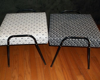 Mid Century Modern Stacking Footstools Foot Stool Ottoman Black Metal tubing legs bent Metal New Cloth Upholstery Black and White