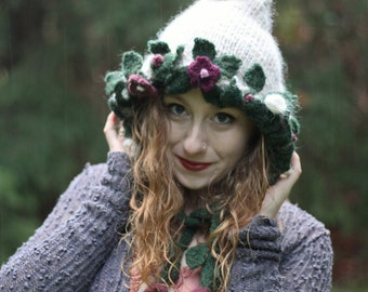 Knit woodland natural off-white pixie hat/hood with wet-felted leaves, flowers, and vines for your inner sprite.