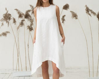White linen dress. Loose fit dress. Stone washed. Womens clothing.