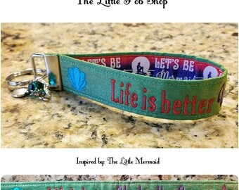 Embroidered Little Mermaid Inspired Key Fob/Wristlet with Charms - Life is better Under the Sea