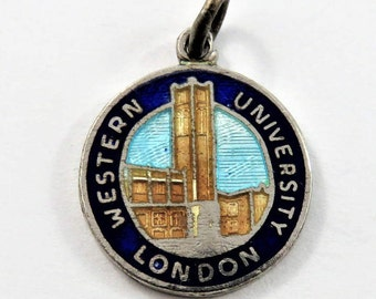 Enameled Western University London Ontario Canada Sterling Silver Charm or Pendant.