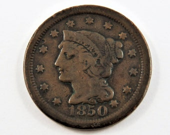 U.S. 1850 Braided Hair One Cent Coin.