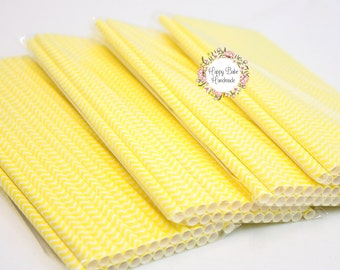 Yellow Straws, Chevron Straws, Yellow Chevron Straws, Pack of 25, Yellow Paper Straws, Cake Pop Sticks, Yellow Party Decor, Paper Straws