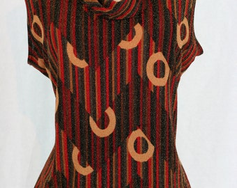 1980s Top - Knit Metallic - Bold Graphic Abstract Print - Sleeveless Cowl Neck Vintage Top - Red Brown Black - Size Large XL