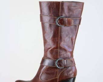 "1990s Brown Leather Boots - Dark Brown Cognac Leather Boots - Decorative Side Straps & Buckles - Fall High Heel Boots - 3"" Heel Size 7.5"