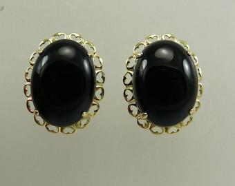 Black Onyx 12.2 MM x 16.3 MM Earring 14k Yellow Gold