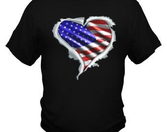 American Flag Heart Custom T shirt
