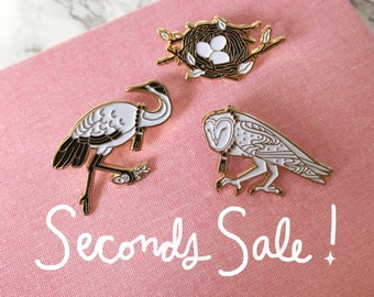 Pin Seconds Sale- Nest, Crane, Owl Enamel Pin