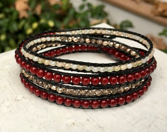 Ruby Red Cream and Gold Handmade Boho Beaded Leather Wrap Bracelet