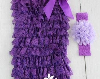 Purple Baby Romper, Baby Girl Romper, Petti Lace Romper, Newborn Romper, Toddler Romper, Baby Photo Props, Lace Romper, Lavender Baby Romper