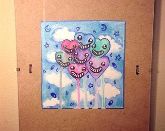 Sparkle Balloon Hearts <3 - Original Watercolor Illustration
