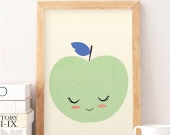 Apple illustration, Kids room art, Cute apple print, Nursery wall art, Wall decor, Baby room wall deco, Fruits print, Cute wall decor