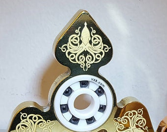 Fidget Spinner 'Cthulhu'  - Laser Engraved EDC Spinner Solid Brass or Copper Metallic Fidget Spinner Cthulhu Lies Waiting