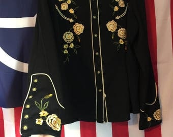 Gorgeous Embroidered Black Western Shirt