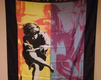 GUNS N ROSES Axl Rose Use Your Illusion I II Cloth Fabric Textile Poster Flag Banner-New