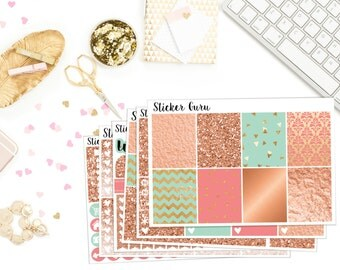 Rose Gold Metallic Copper // Weekly Sticker Kit // Erin Condren MAMBI Happy Planner Stickers [K001/D001]