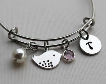 bird bracelet, personalized bird bracelet, bird jewelry, bird bangle, bird theme gift, personalized bird gift, bird charm bracelet, bird