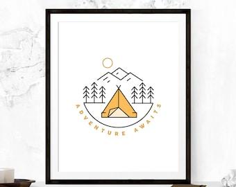 Adventure Awaits Print, Adventure Awaits Art, Wanderlust Print, Adventure Art Print, Inspirational Poster, Travel Art, Motivational Print