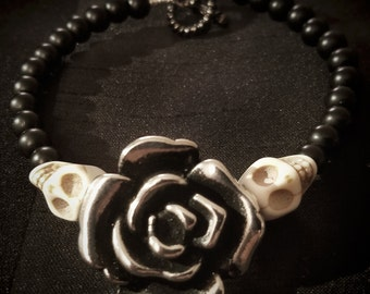Silver Rose and Skull Bracelet, Womens Skull Bracelet, Rose Bracelet, Skull Bracelet, Sugar Skull, Day of the Dead Bracelet, Gothic Bracelet
