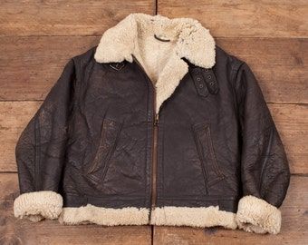 Womens Vintage Sheepskin Shearling B3 Leather Fur Lined Jacket M 10/12 R4539