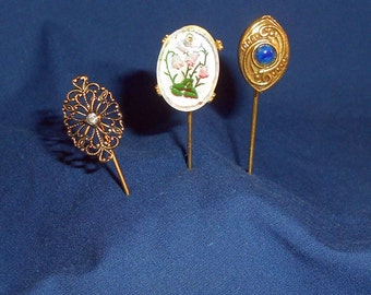 Vintage Stick Pins Brooches Pins Lot of 3 Vintage Gold Tone Lapel Pins Hat Pins