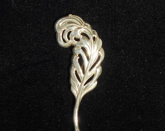 Vintage Sterling by Lang Feather Brooch Pin 1950's Mid-Century Very Classy