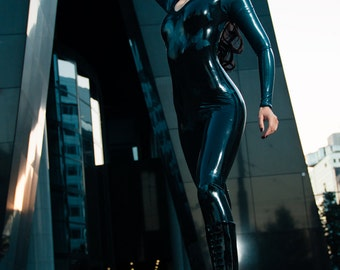 Black and Peacock Latex Catsuit with Butterflies size M