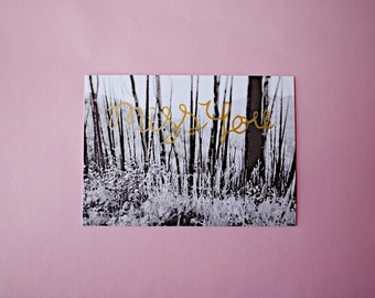 Miss You   Colorado   Screenprint and Photograph   Gold   Postcard