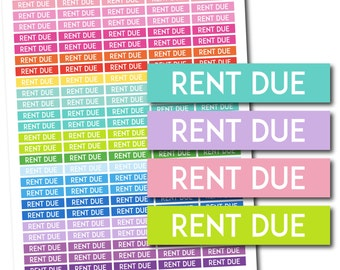 Rent due stickers, Rent due planner stickers, Rent due printable stickers, Rent due weekly stickers, Rent due monthly stickers, STI-733