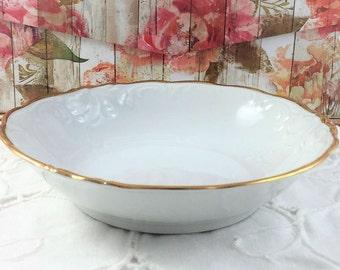 Vintage Fruit Bowls, Classic White/Gold Trim, Embossed - Wawel China, Poland, Casa Oro Pattern, Set of 7