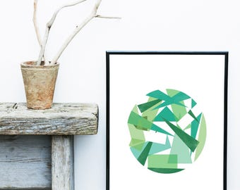 Green Abstract Art, Scandinavian Print, Circle Print, Geometric Art, Forest Print, Digital Art Print, Giclee print,  Wall Decor