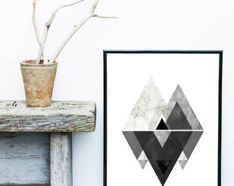 Grey Triangle Print, Monochrome Art Print, Geometric Wall Art, Scandinavian Print,  Mid Century Modern, Giclee print, Wall Decor