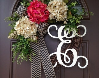 Spring Wreaths for Front Door - Door Wreaths with Initial -Hydrangea Wreaths- Summer Grapevine Wreath with Monogram - Everyday Wreath - Gift