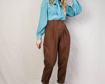 AMAZING Vintage Brown High Waist Tapered Trousers / 29'' / 90s hipster chocolate mocha pants super rad fitted trousers chinos
