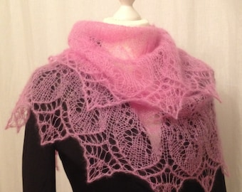 A Pink luxurious hand-made lace shawl!