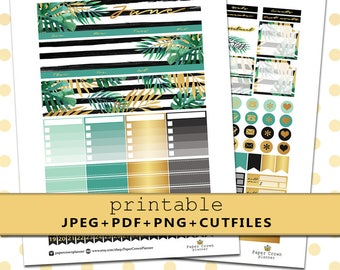 JUNE Monthly View/Printable Planner Stickers for Erin Condren Life Planner/Horizontal Planner Sticker Kit/Monthly Kit/Silhouette Cutfiles