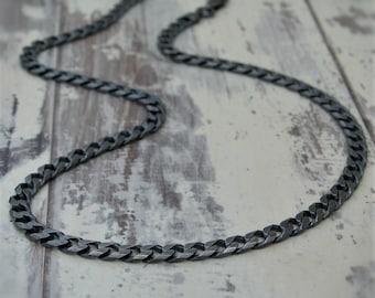 Renewed oxidised silver curb chain - Silver heavy curb chain - Mens silver chain - 20.5 inch silver chain - British vintage jewellery