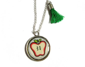 APPLE NECKLACE - Gift Necklace - Holiday Gift - Gift for Girl - Kids Necklace Apple - Children's Apple Necklace - First day of school gift