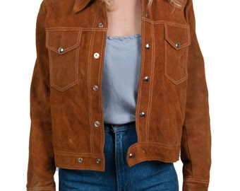 Vintage 70s tan suede cowhide jacket - 1970s camel biker-style Western-inspired jacket - Vintage silver button fitted boho hippie jacket