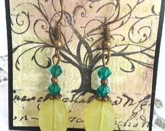 Super sale!! Lime earrings, teal earrings, summer earrings