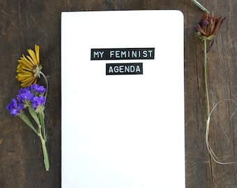writing journal, diary, lined journal, feminist af, agenda, feminism, gift for her, quote, gift for writers, nasty woman