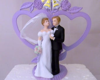 Wedding Reception Party Bride Groom Double Hearts Cake Topper Lavender