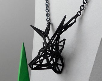 Black Deer - 3D printed jewel in nylon - pendant with chain -  wireframe style -