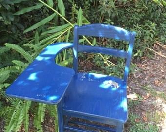 Vintage School Desk, Chair, Blue, Wood Chair