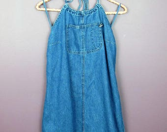 Vintage Denim Halter Dress